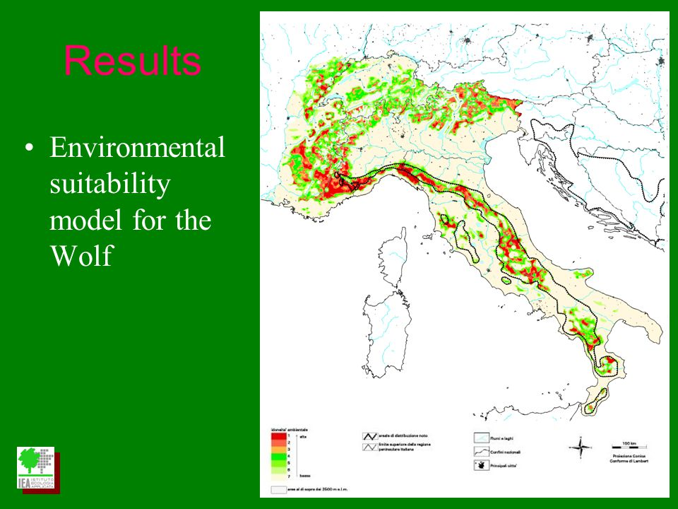 Environmental suitability model for the Wolf Results