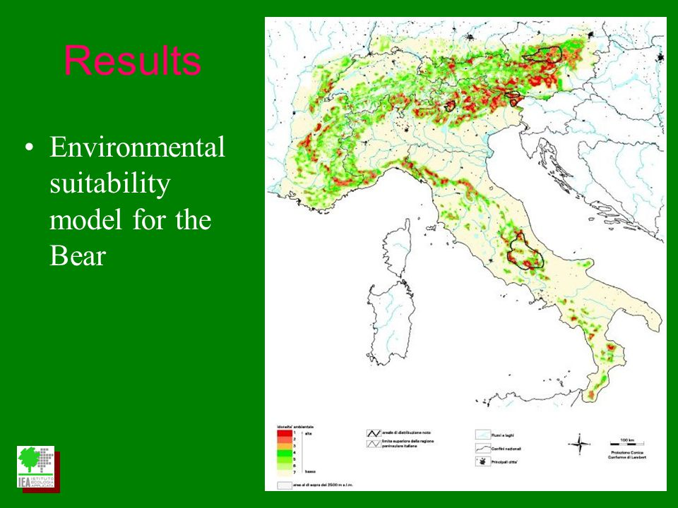 Environmental suitability model for the Bear Results