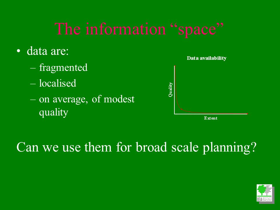 The information space data are: –fragmented –localised –on average, of modest quality Can we use them for broad scale planning