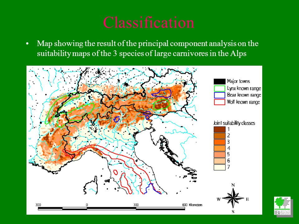 Classification Map showing the result of the principal component analysis on the suitability maps of the 3 species of large carnivores in the Alps
