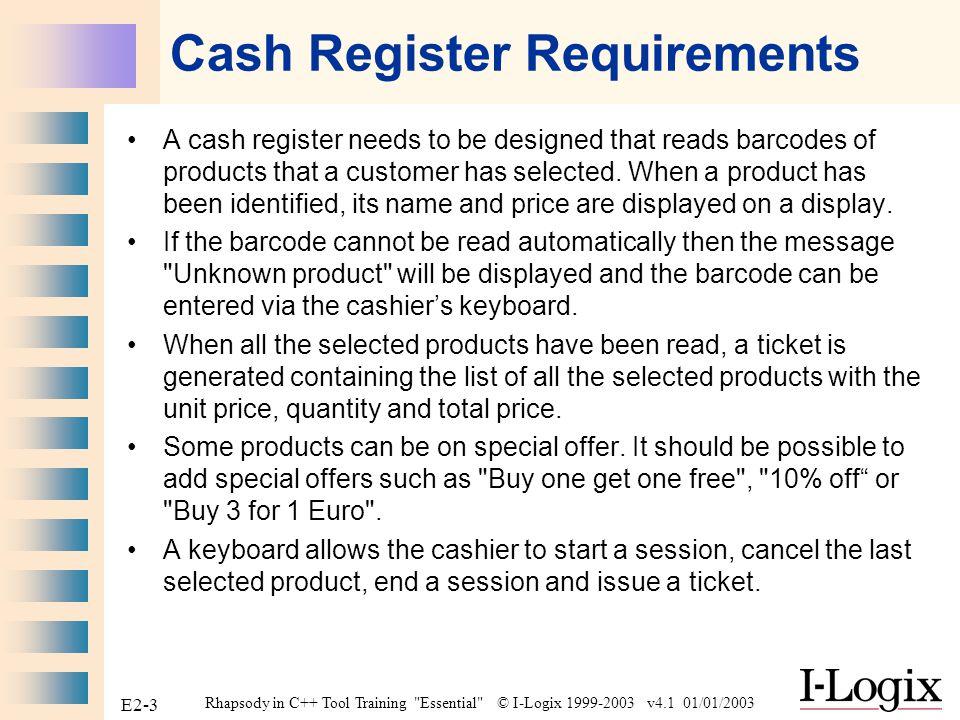 Rhapsody in C++ Tool Training Essential © I-Logix 1999-2003 v4.1 01/01/2003 E2-2 Case Study : Cash Register