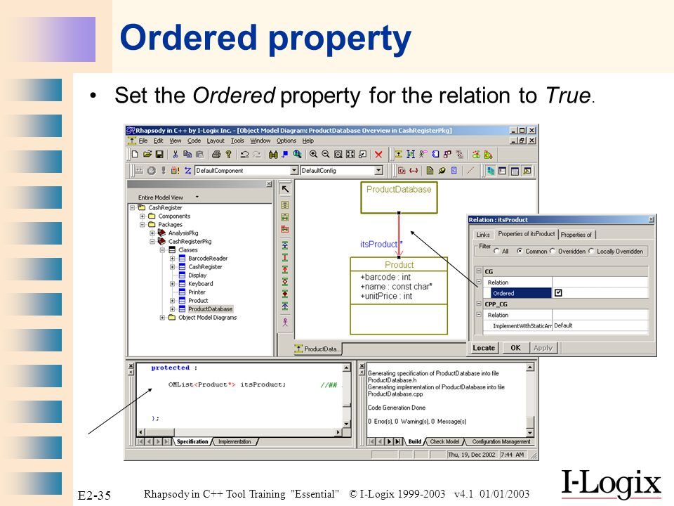 Rhapsody in C++ Tool Training Essential © I-Logix 1999-2003 v4.1 01/01/2003 E2-34 OMCollection overview