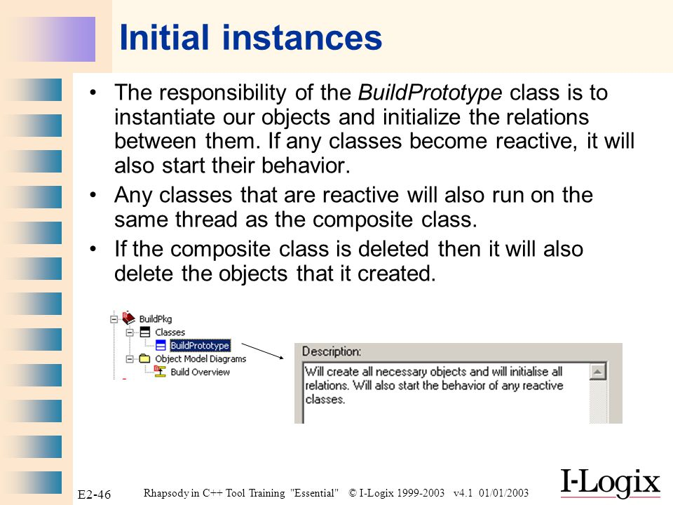 Rhapsody in C++ Tool Training Essential © I-Logix 1999-2003 v4.1 01/01/2003 E2-45 Build Prototype Add a composite class called BuildPrototype around all our classes except the Product class on the Build Overview diagram.
