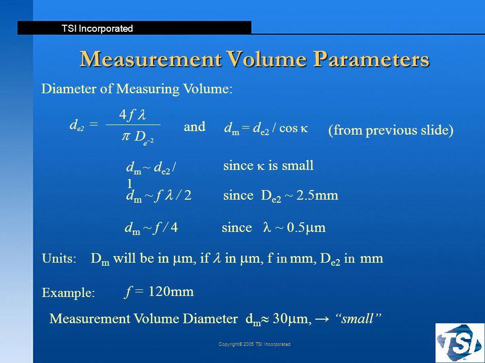 "TSI Incorporated Copyright© 2005 TSI Incorporated Measurement Volume Parameters f = 120mm Example: Measurement Volume Diameter  d m  m, → ""small"