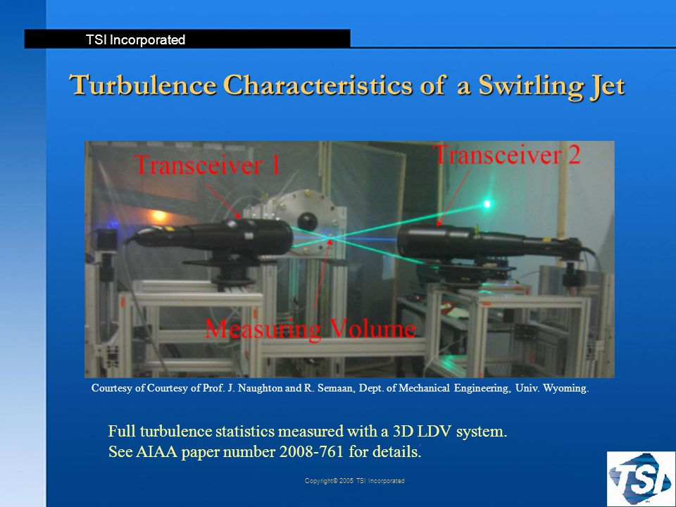 TSI Incorporated Copyright© 2005 TSI Incorporated Turbulence Characteristics of a Swirling Jet Full turbulence statistics measured with a 3D LDV syste