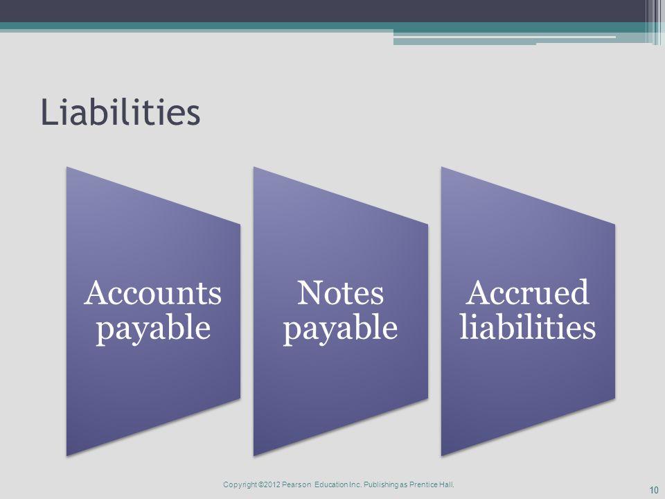 10 Liabilities Accounts payable Notes payable Accrued liabilities Copyright ©2012 Pearson Education Inc.