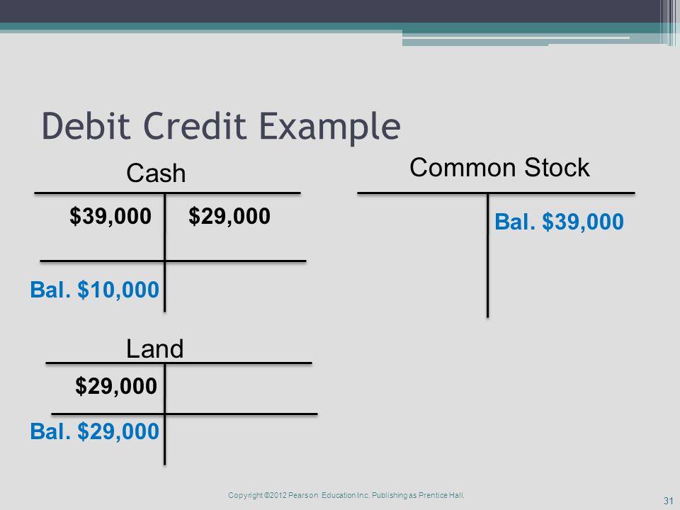 31 Debit Credit Example Cash Common Stock $39,000 Land $29,000 Bal.