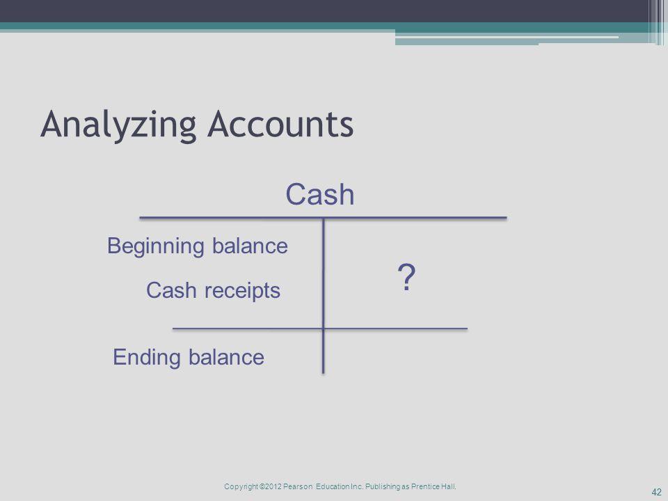 42 Analyzing Accounts Cash Beginning balance Ending balance Cash receipts .