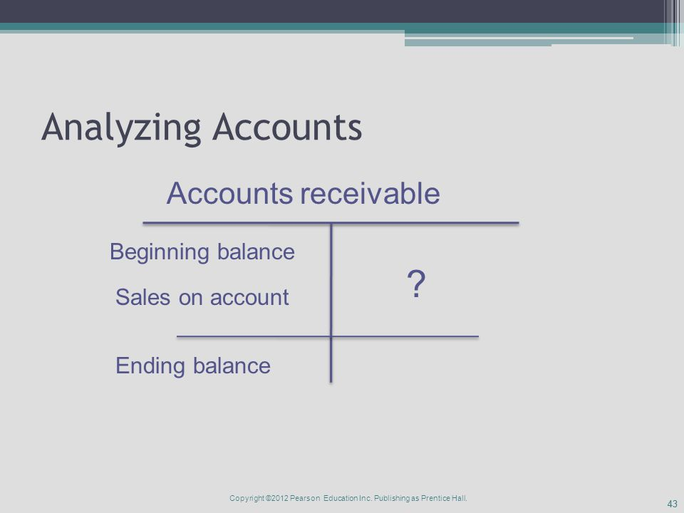 43 Analyzing Accounts Accounts receivable Beginning balance Ending balance Sales on account .