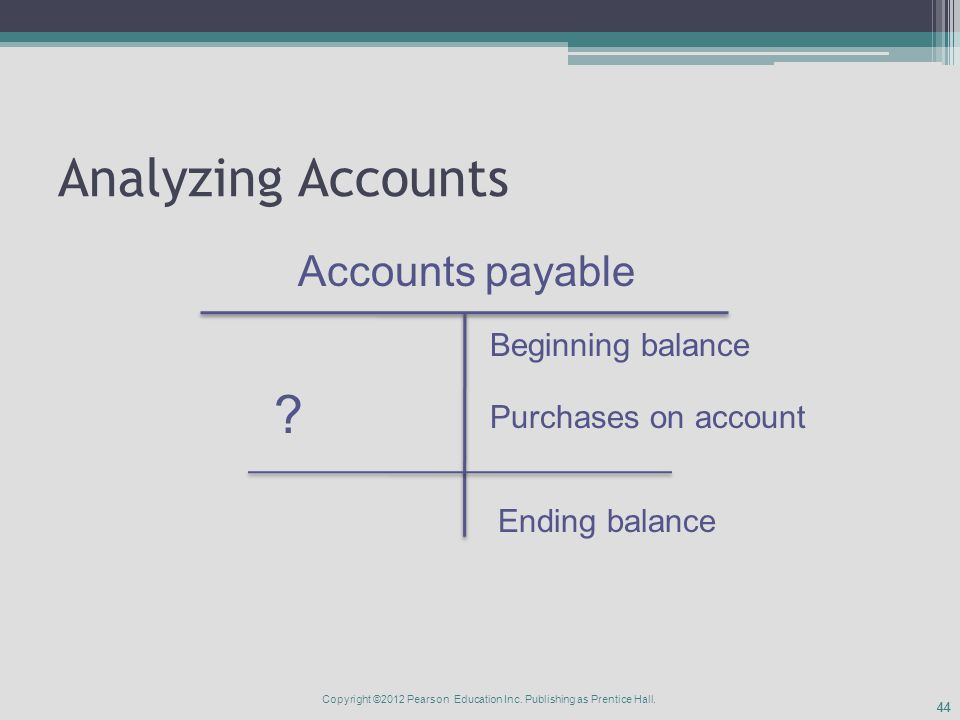 44 Analyzing Accounts Accounts payable Beginning balance Ending balance .