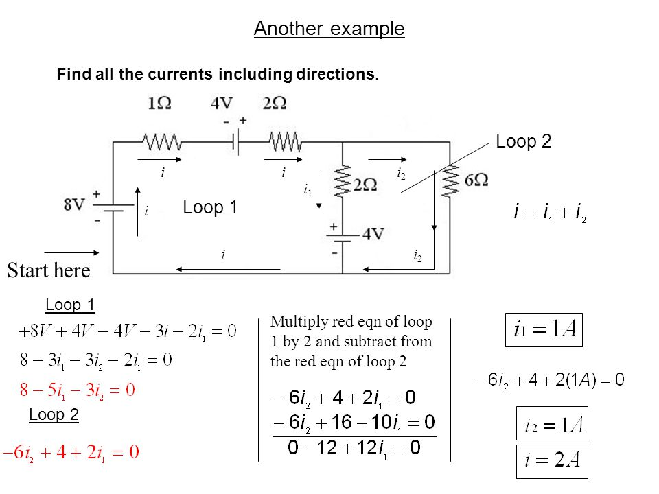Another example Find all the currents including directions. Loop 1 Loop 2 Loop 1 Loop 2 ii i i i1i1 i2i2 i2i2 Multiply red eqn of loop 1 by 2 and subt