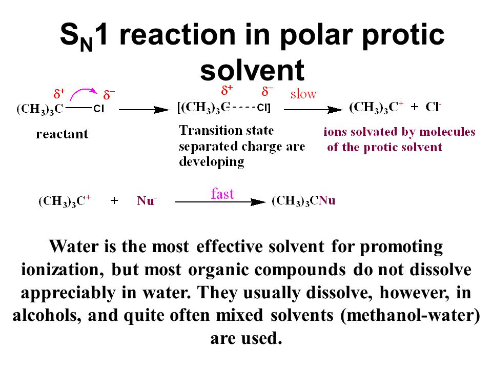6.15D Solvent effects on S N 1 reactions. The ionizing ability of the solvent Because of its ability to solvate cations and anions so effectively, the