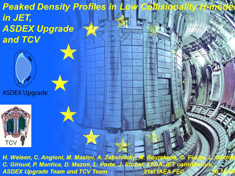 H. Weisen 1 21st IAEA FEC, Chengdu 2006 Peaked Density Profiles in Low Collisionality H-modes in JET, ASDEX Upgrade and TCV H. Weisen, C. Angioni, M.