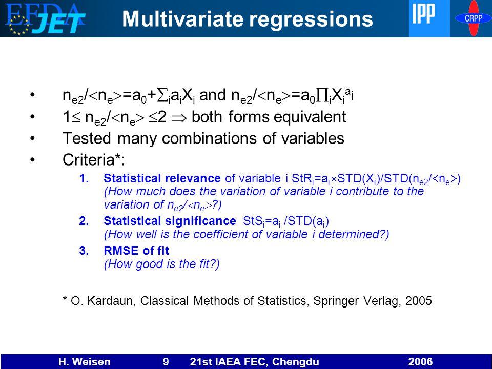H. Weisen 9 21st IAEA FEC, Chengdu 2006 Multivariate regressions n e2 /  n e  =a 0 +  i a i X i and n e2 /  n e  =a 0  i X i a i 1  n e2 /  n