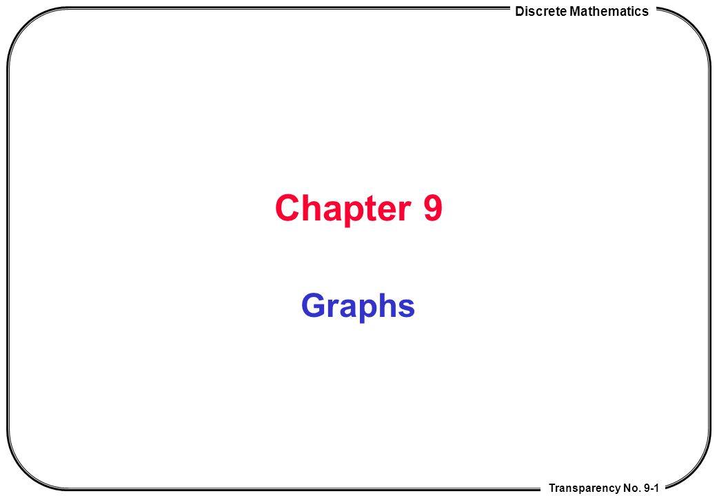Discrete Mathematics Chap 9 Graphs Transparency No.9-12 Handshaking theorem Theorem 1: G = (V,E) : a undirected graph ==>  v  V deg(v) = 2 |E|.