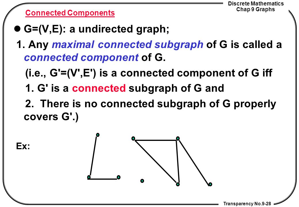 Discrete Mathematics Chap 9 Graphs Transparency No.9-28 Connected Components G=(V,E): a undirected graph; 1. Any maximal connected subgraph of G is ca