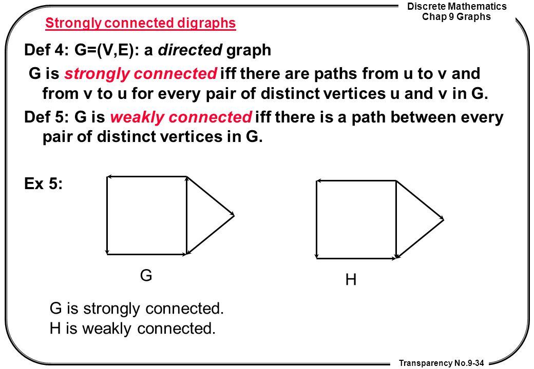 Discrete Mathematics Chap 9 Graphs Transparency No.9-34 Strongly connected digraphs Def 4: G=(V,E): a directed graph G is strongly connected iff there