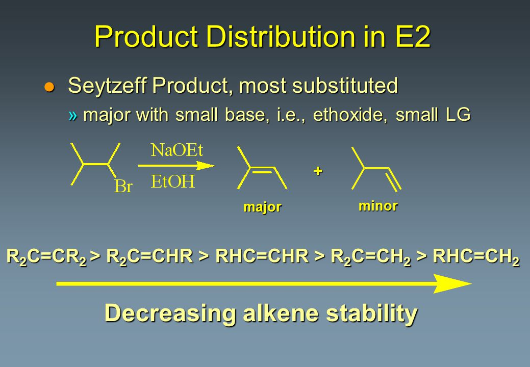 Product Distribution in E2 l Seytzeff Product, most substituted »major with small base, i.e., ethoxide, small LG + major minor R 2 C=CR 2 > R 2 C=CHR