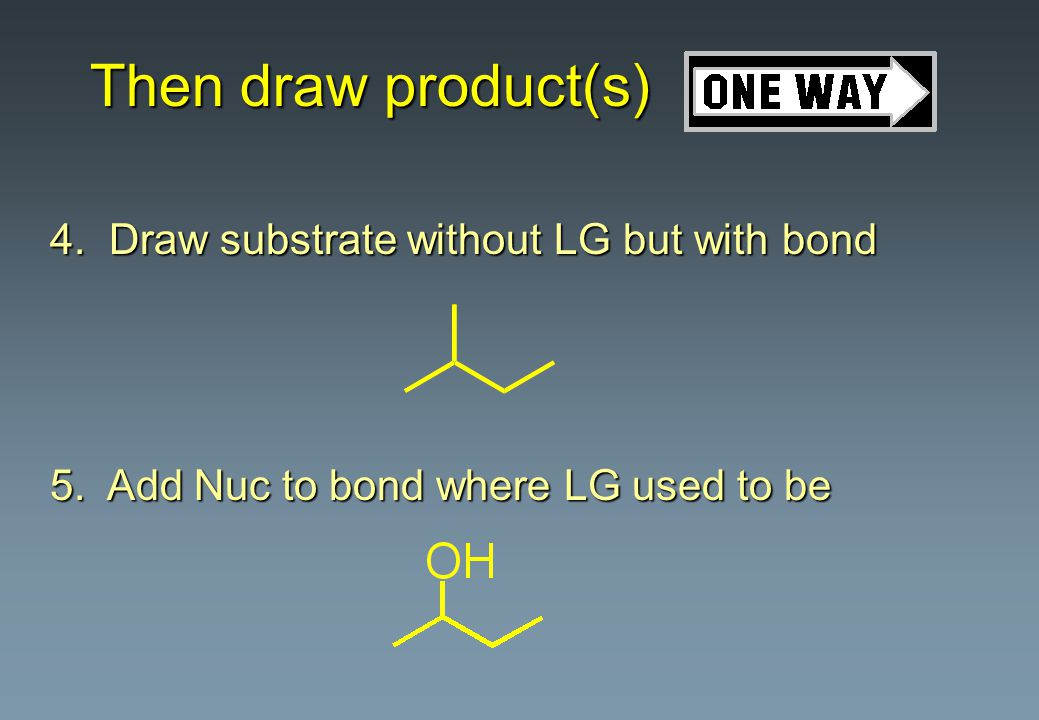 Comparison of S N 1 and S N 2 l Base strength unimportant l Substrates: reactivity order is 3 o > 2 o > 1 o l Solvent: good ionizing solvent required l Rate: depends on substrate conc.