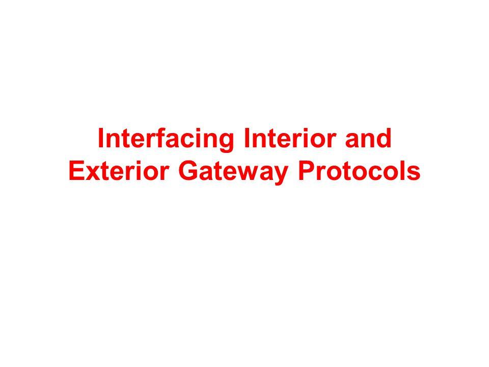 Interfacing Interior and Exterior Gateway Protocols