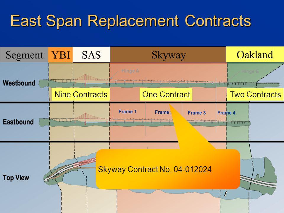 Frame 1 Frame 2 Frame 3Frame 4 Hinge A Hinge E Segment YBI SAS Skyway Oakland One ContractTwo Contracts Nine Contracts East Span Replacement Contracts