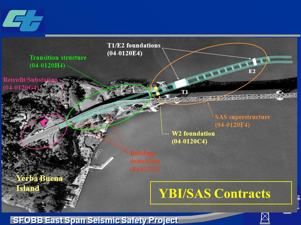 SFOBB East Span Seismic Safety Project Yerba Buena Island T1/E2 foundations (04-0120E4) T1 E2 W2 foundation (04-0120C4) Building demolition (04A1701)