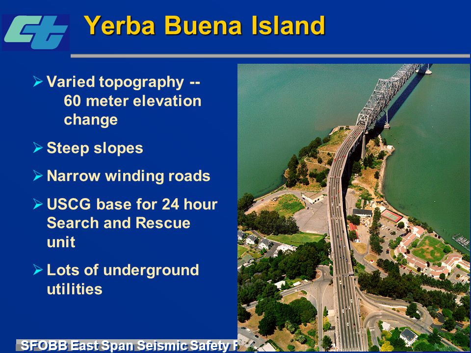 SFOBB East Span Seismic Safety Project Yerba Buena Island  Varied topography -- 60 meter elevation change  Steep slopes  Narrow winding roads  USC