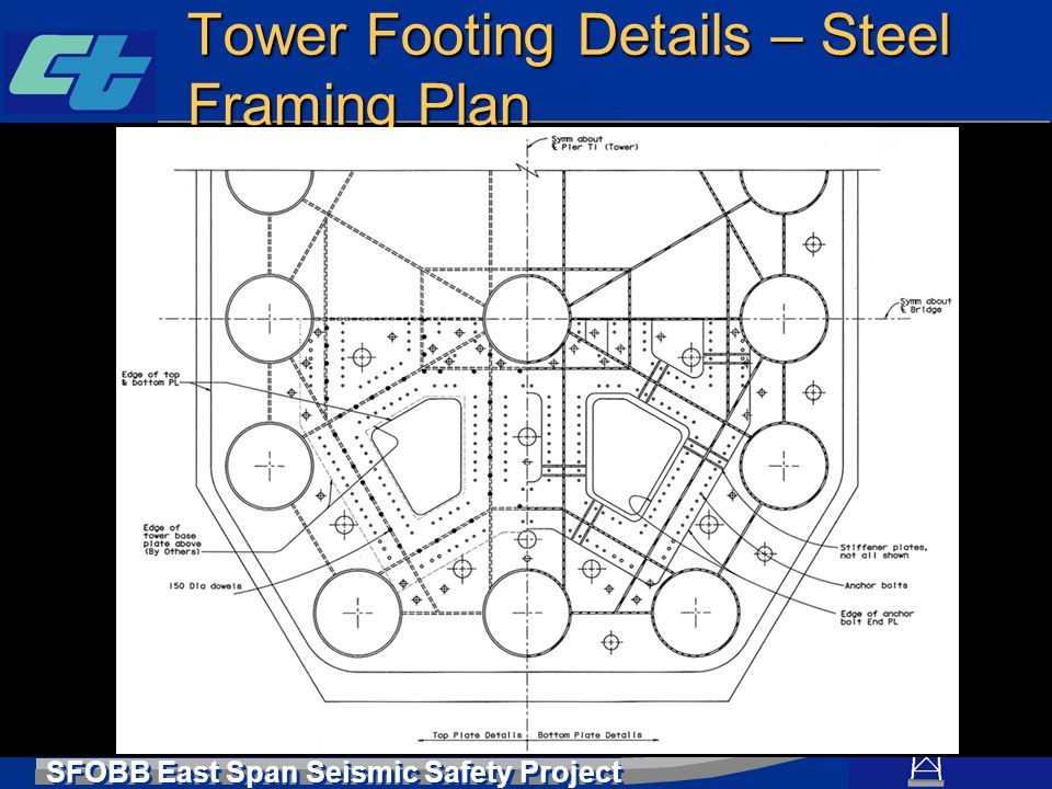SFOBB East Span Seismic Safety Project Tower Footing Details – Steel Framing Plan