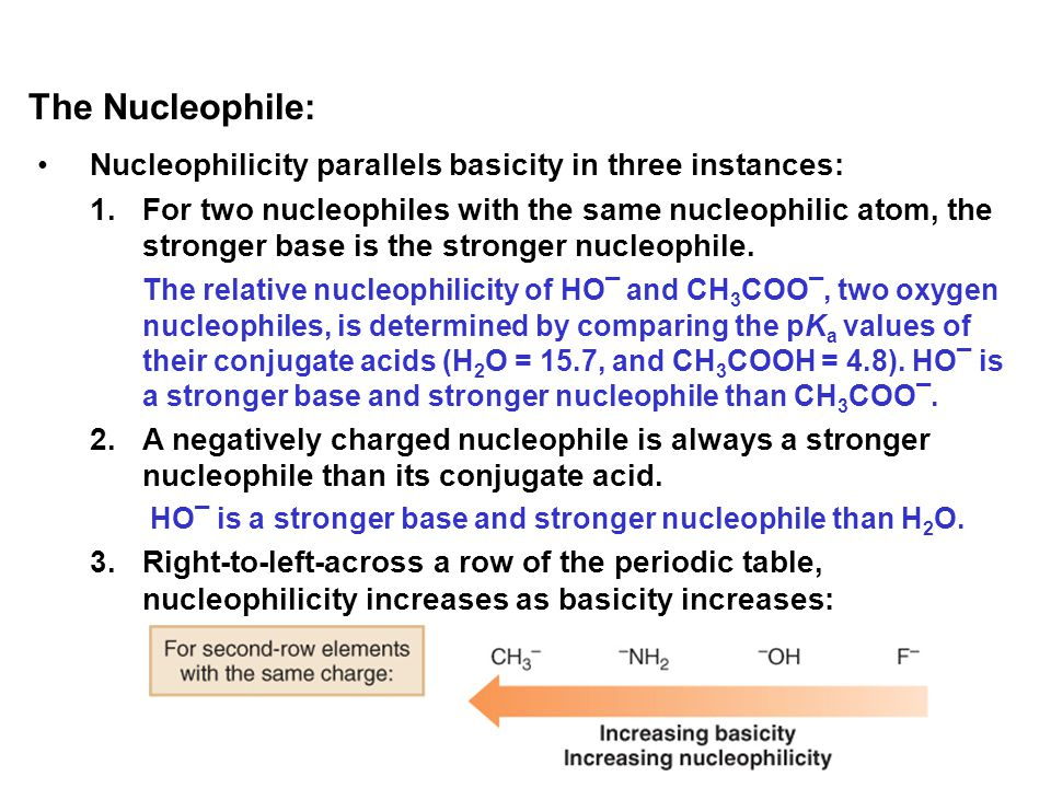 Nucleophilicity parallels basicity in three instances: 1.For two nucleophiles with the same nucleophilic atom, the stronger base is the stronger nucle