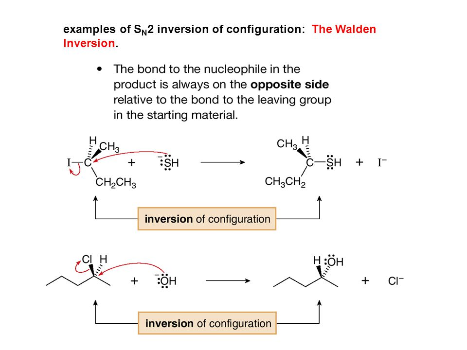 examples of S N 2 inversion of configuration: The Walden Inversion.