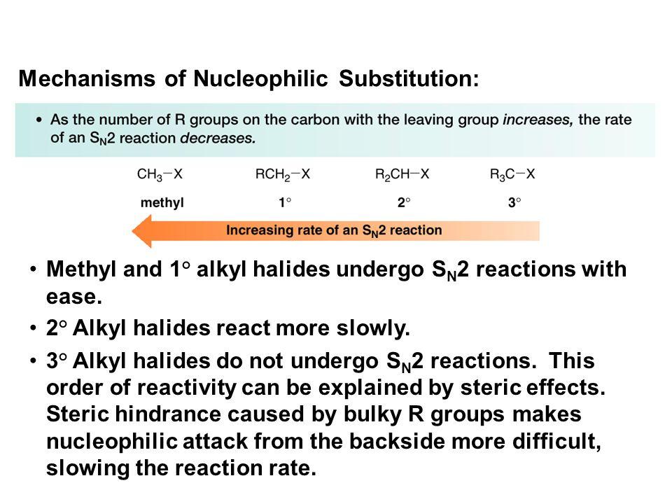 Methyl and 1° alkyl halides undergo S N 2 reactions with ease. 2° Alkyl halides react more slowly. 3° Alkyl halides do not undergo S N 2 reactions. Th