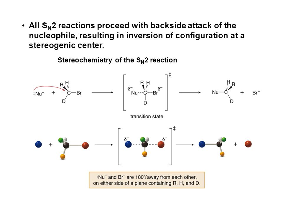 All S N 2 reactions proceed with backside attack of the nucleophile, resulting in inversion of configuration at a stereogenic center. Stereochemistry