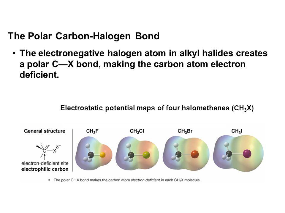 The electronegative halogen atom in alkyl halides creates a polar C—X bond, making the carbon atom electron deficient. The Polar Carbon-Halogen Bond E