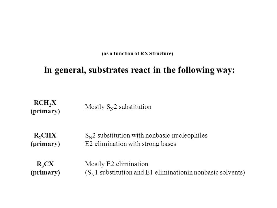 (as a function of RX Structure) In general, substrates react in the following way: RCH 2 X (primary) Mostly S N 2 substitution R 2 CHX (primary) S N 2