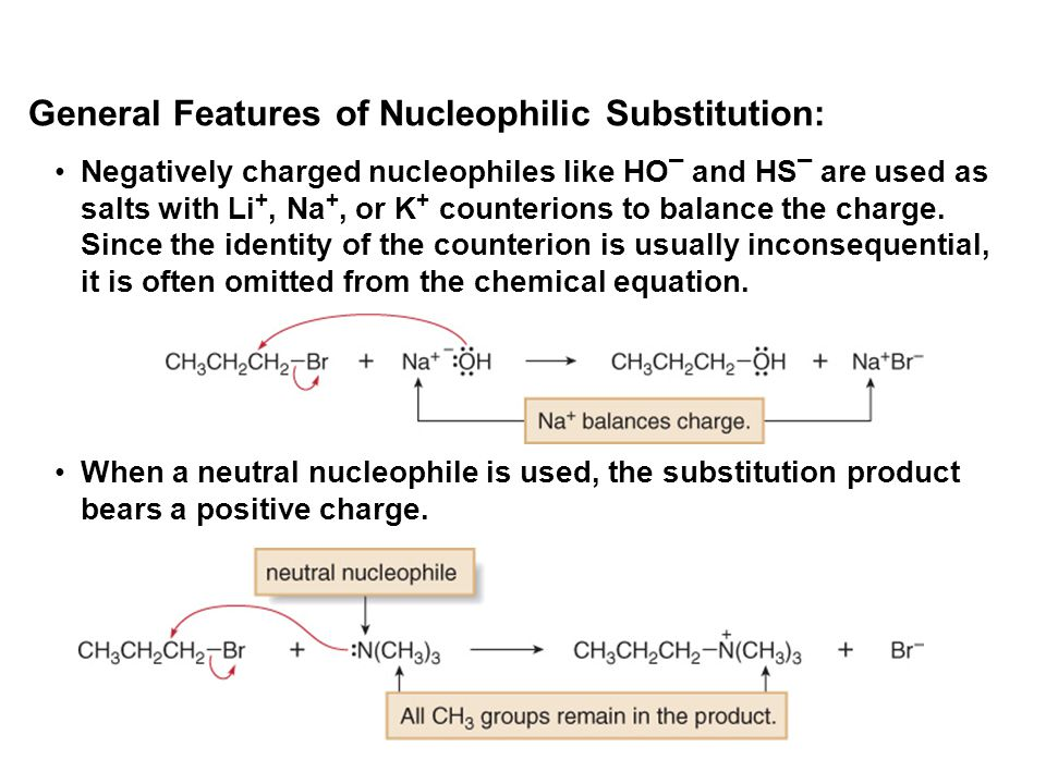 Negatively charged nucleophiles like HO ¯ and HS ¯ are used as salts with Li +, Na +, or K + counterions to balance the charge. Since the identity of