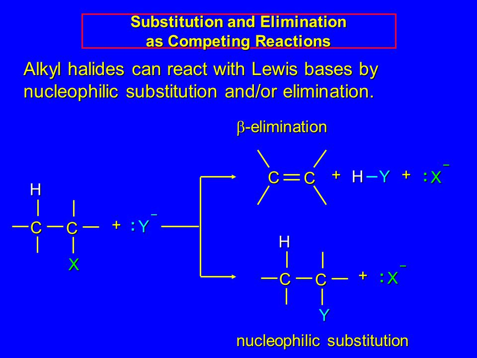 Alkyl halides can react with Lewis bases by nucleophilic substitution and/or elimination.
