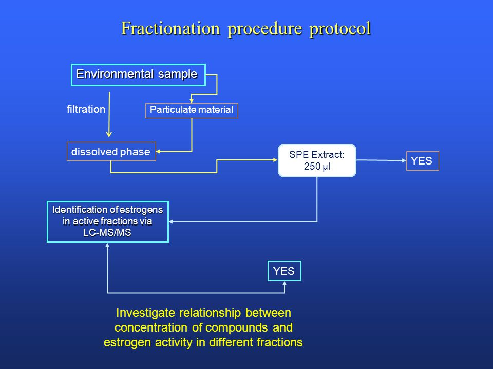 Environmental sample filtration dissolved phase Identification of estrogens in active fractions via LC-MS/MS Particulate material YES Fractionation procedure protocol Investigate relationship between concentration of compounds and estrogen activity in different fractions SPE Extract: 250 µl