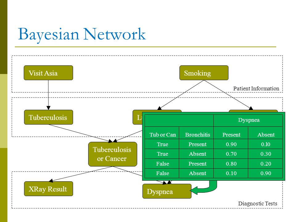 Bayesian Network Visit Asia Tuberculosis or Cancer XRay Result Dyspnea BronchitisLung Cancer Smoking Patient Information Medical Difficulties Diagnostic Tests Medical Difficulties Tub or Can True False Bronchitis Present Absent Present Absent Present 0.90 0.70 0.80 0.10 Absent 0.l0 0.30 0.20 0.90 Dyspnea