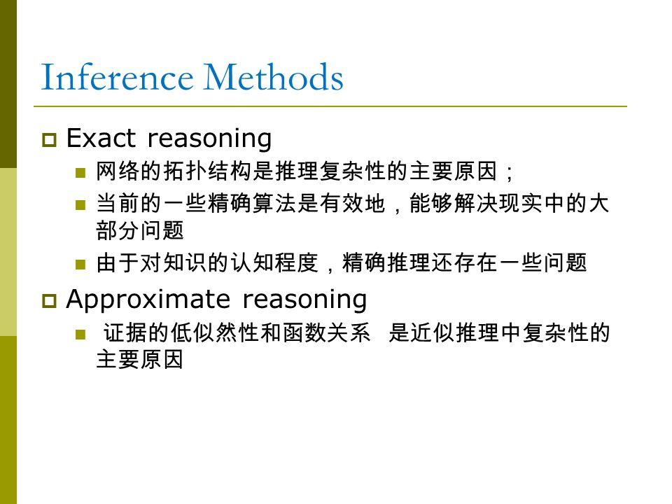 Inference Methods  Exact reasoning 网络的拓扑结构是推理复杂性的主要原因; 当前的一些精确算法是有效地,能够解决现实中的大 部分问题 由于对知识的认知程度,精确推理还存在一些问题  Approximate reasoning 证据的低似然性和函数关系 是近似推理