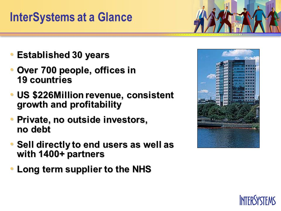 InterSystems at a Glance Established 30 years Established 30 years Over 700 people, offices in 19 countries Over 700 people, offices in 19 countries U