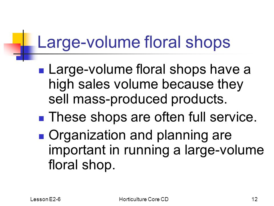 Lesson E2-6Horticulture Core CD12 Large-volume floral shops Large-volume floral shops have a high sales volume because they sell mass-produced products.