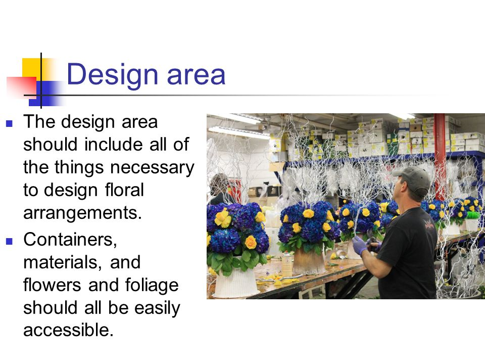 Design area The design area should include all of the things necessary to design floral arrangements.