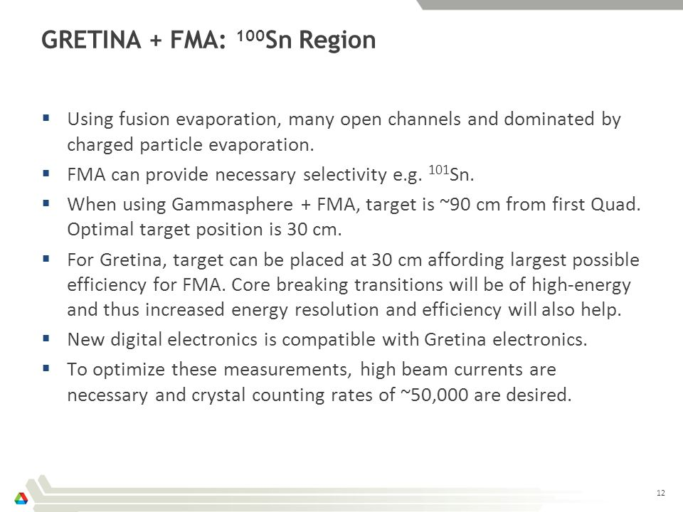 GRETINA + FMA: 100 Sn Region  Using fusion evaporation, many open channels and dominated by charged particle evaporation.