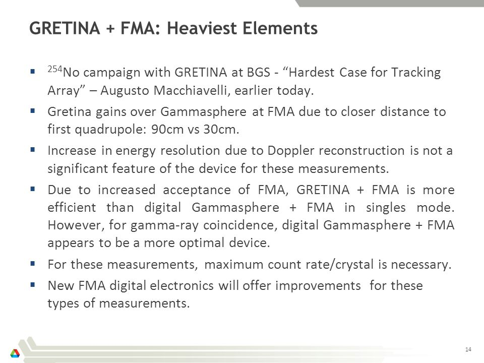 GRETINA + FMA: Heaviest Elements  254 No campaign with GRETINA at BGS - Hardest Case for Tracking Array – Augusto Macchiavelli, earlier today.