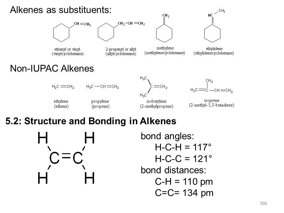 102 Alkenes as substituents: Non-IUPAC Alkenes 102 5.2: Structure and Bonding in Alkenes bond angles: H-C-H = 117° H-C-C = 121° bond distances: C-H =