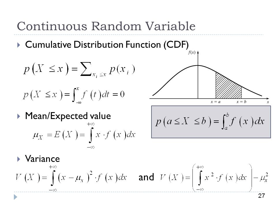 27 Continuous Random Variable  Cumulative Distribution Function (CDF)  Mean/Expected value  Variance and