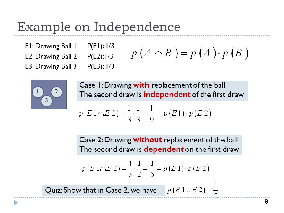 9 Example on Independence 3 21 Case 1: Drawing with replacement of the ball The second draw is independent of the first draw E1: Drawing Ball 1 E2: Drawing Ball 2 E3: Drawing Ball 3 Case 2: Drawing without replacement of the ball The second draw is dependent on the first draw P(E1): 1/3 P(E2):1/3 P(E3): 1/3 Quiz: Show that in Case 2, we have