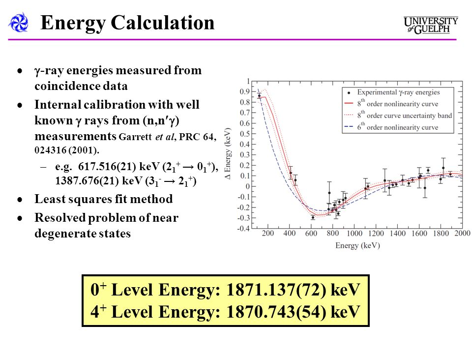 Energy Calculation  -ray energies measured from coincidence data  Internal calibration with well known  rays from (n,n  ) measurements Garrett et al, PRC 64, 024316 (2001).
