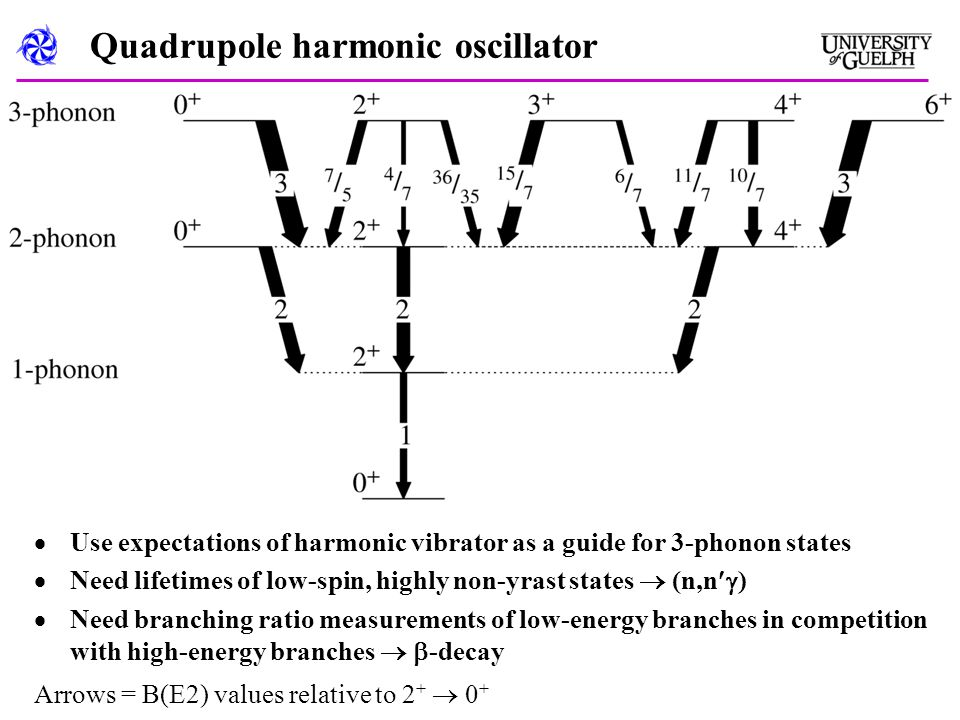 Quadrupole harmonic oscillator  Use expectations of harmonic vibrator as a guide for 3-phonon states  Need lifetimes of low-spin, highly non-yrast states  (n,n  )  Need branching ratio measurements of low-energy branches in competition with high-energy branches   -decay Arrows = B(E2) values relative to 2 +  0 +