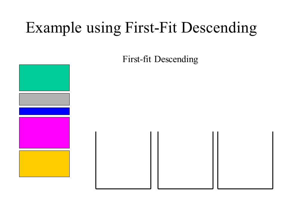 Example using First-Fit Descending First-fit Descending